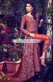 MX6800 Cinnabar Bright Pink Burgundy Crinkle Chiffon Banarasi Jamawar Maxi Dress