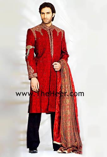 Sw883 Deep Red Jamawar Sherwani Men S Sherwani Designers