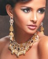 EJ170 Crystal Gold Pearl Evening Jewellery