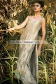 EW7696 Battleship Gray Crinkle Chiffon Raw Silk Evening Dress