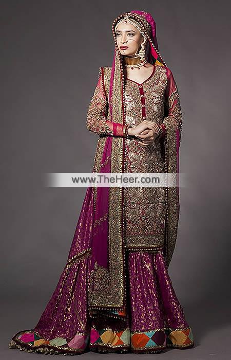 2441030cd4ab0 BW6996 Maroon Tyrian Purple Crinkle Chiffon Banarasi Jamawar Gharara ...