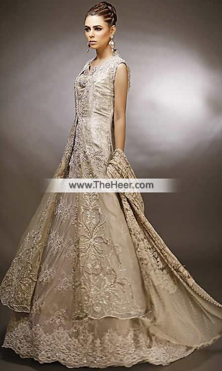 0971121d53e4 MX6708 Khaki Banarasi Jamawar Crinkle Chiffon Raw Silk Wedding Maxi
