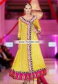 AK7481 School Bus Yellow Dark Cerise Crinkle Chiffon Crepe Silk Anarkali