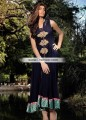 AK6830 Dark Navy Blue Light Khaki Crinkle Chiffon Crepe Silk Anarkali Dress
