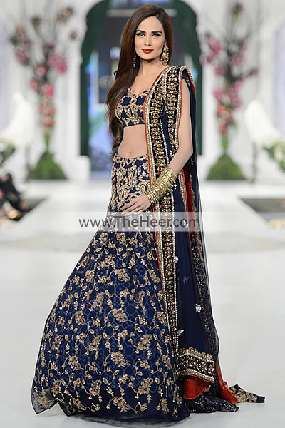 Bw5498 dark federal blue crinkle chiffon lehenga ammar for Indian wedding dresses uk