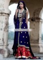 SC6716 Black Dark Persian Indigo Crimson Crinkle Chiffon Banarasi Jamawar Angrakha Lehenga