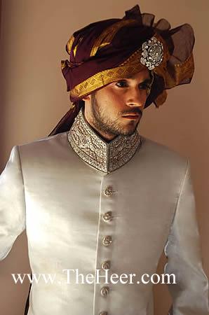 Sw515 Off White Polister Cotton Sherwani Designer Sherwani