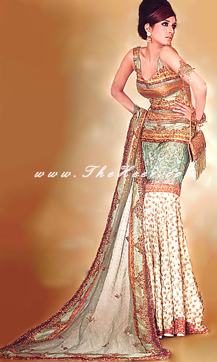 Bw376 Copper Cream Amp Light Green Gharara Designer Mermaid