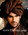 TB408 Dark Brown Jamawar Turban