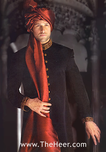 SW748 Black Jamawar Sherwani Sherwani for Wedding Men's ...