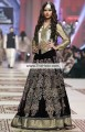 BW6986 Metallic Gold Black Fancy Net Velvet Crinkle Chiffon Lehenga