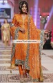 PW6961 Cadmium Orange Raw Silk Crepe Silk Crinkle Chiffon Party Dress