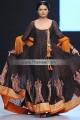 AK7726 Black Cadmium Orange Crinkle Chiffon Banarasi Jamawar Raw Silk Anarakli Dress