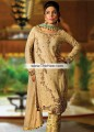 PW6750 Medium Champagne Crinkle Chiffon Banarasi Jamawar Party Dress