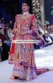 BW6675 Lava Neon Fuchsia Crinkle Chiffon Embroidered Chiffon Angrakha Sharara
