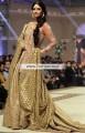 BW6940 Vermilion Pale Gold Gold Metallic Crinkle Chiffon Banarasi Jamawar Court Train Lehenga