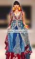 BW6118 Maroon, Yale Blue & Brandeis Blue Crinkle Chiffon, Banarasi Jamawar & Velvet Gown