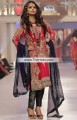 PW6609 Lust Red Duke Blue Crinkle Chiffon Banarasi Jamawar Party Dress