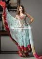 AK6791 Non Photo Blue Fallow Magenta Maroon Crinkle Chiffon Crepe Silk Anarkali Dress