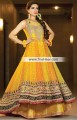 AK6810 Lemon Yellow Fluorescent Orange Aureolin Crinkle Chiffon Banarasi Jamawar Anarkali Lehenga