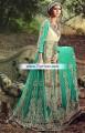 AK6924 Light Mint Blond Crinkle Chiffon Crepe Silk Anarkali Dress
