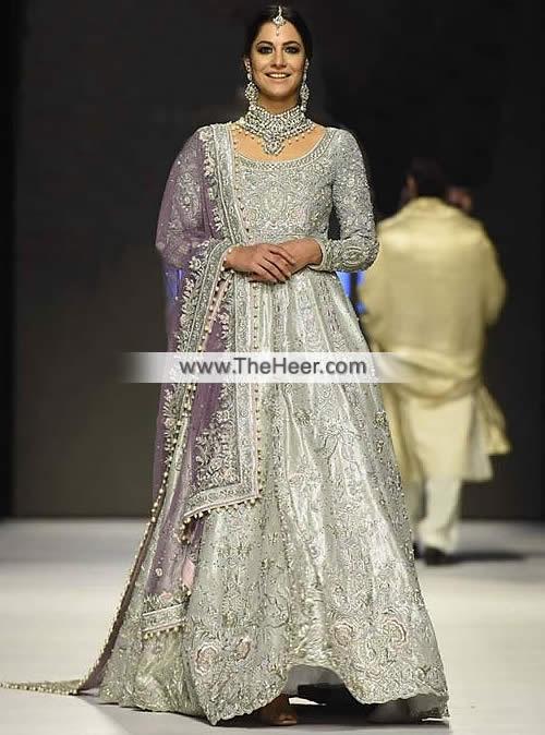 77f0f1fc046 MX6575 Silver Purple Banarasi Jamawar Raw Silk Crinkle Chiffon Wedding Maxi