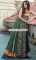 AK6837 Dark British Racing Green Dull Gold Dark Tyrian Purple Dull Gold Banarasi Jamawar Crinkle Chiffon Anarkali Lehenga