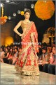 HDIL03 Flame Red Golden Crinkle Chiffon Banarasi Jamawar Lehenga