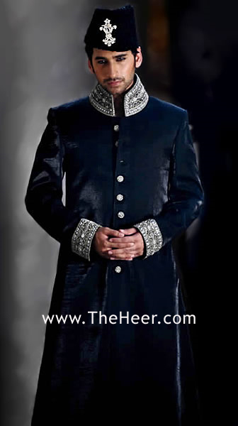 485f774eb5 SW518 Dark Oxford Blue Velvet Sherwani esigner Sherwani for Groom ...