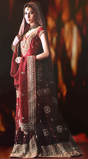 BW6979 Red Banarsi Crinkle Chiffon Gharara Traditional Middle ...