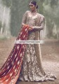 BW6869 Dark Tan Dark Rufous Crinkle Chiffon Banarasi Jamawar Velvet Lehenga