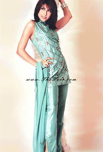 PW8803 Light Topaz Katan Silk Short Kameez Shalwar Kameez