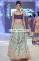 BW6121 Persian Indigo Baby Blue Raw Silk Banarasi Jamawar Lehenga