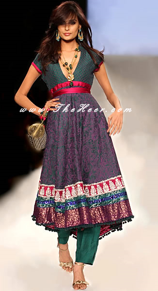 a4a31afe41 AK7498 Teal Green Anarkali Style Umer Saeed Deepak Perwani Ayesha ...