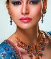 EJ708 Capri Blue And Pink Gemstones Evening Jewellery