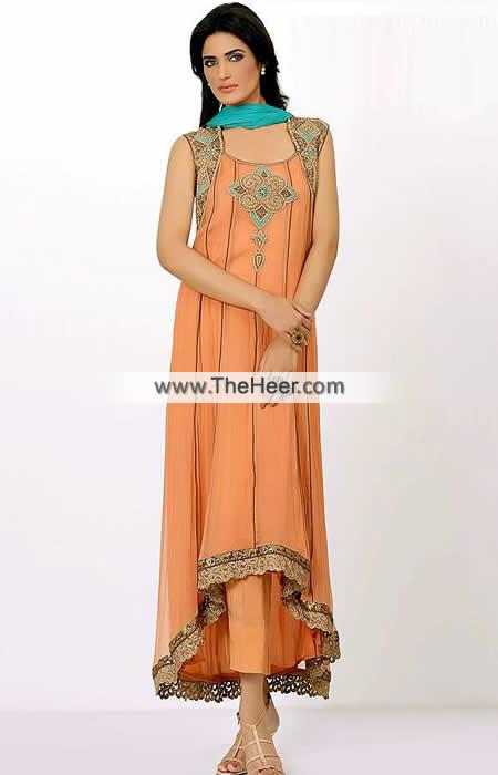 be5de16ca9 AK7266 Pink Orange Tiffany Blue Crinkle Chiffon Raw Silk Anarkali