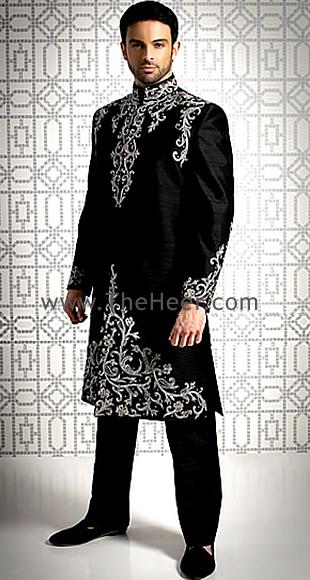 Sw459 Black Raw Silk Sherwani Sherwani For Men Wedding