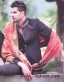 SW474 Black Polyster Cotton Sherwani
