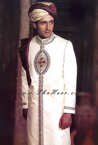 SW870 Off White Sherwani Mens Designers Grooms Embellished Pakistan And India Bright Shades