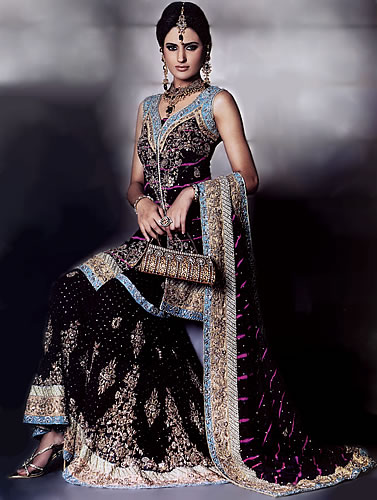 Bw6892 black sharara black crimp sharara pakistani indian for Indian wedding dresses usa